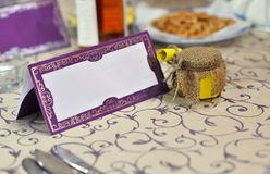 Wedding tablle with blank card Stock Photo