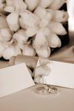 Wedding tags. Wedding rings on the wedding Royalty Free Stock Photo