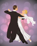 Wedding tango. Married couple is tango dancing on the purple background Royalty Free Stock Images
