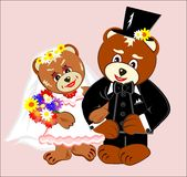 Wedding Teddy Bears. A pair of teddy bears as the bride and groom vector illustration