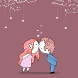 Wedding Template. Illustration of kissing couple on wedding invitation template Royalty Free Stock Images