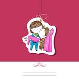 Wedding Template. Illustration of kissing couple on wedding invitation template Stock Image