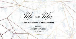 Wedding template card. Mr. and Mrs. signs. Mr. and Mrs. signs. Wedding template card of geometric design. White marble background and rose gold geometric pattern Stock Image