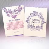 Wedding template invitation with floral drawing Stock Photo