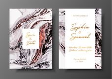 Wedding template with liquid marble texture for wedding invite, save the date card, greeting card, place for your text stock illustration