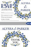 Wedding template set.Watercolor Blueberries wreath Royalty Free Stock Photography