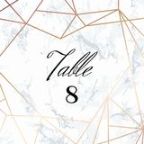 Wedding template. Tented Table Numbers card. White marble background and rose gold geometric pattern. Dimensions 4x4 inch plus 0,25 bleed. Seamless pattern Royalty Free Stock Photo