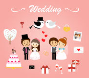 Wedding template vector. CARTOON STYLE WEDDING ELEMENTS VECTOR PACK Stock Images