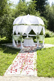 Wedding Tent. White wedding tent with table in summer green park Stock Photography