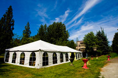 Wedding Tent. A large tent outside for a wedding reception Royalty Free Stock Images