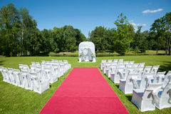 Wedding tent in park Royalty Free Stock Photos