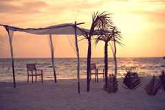 Wedding tent with sunset Stock Images
