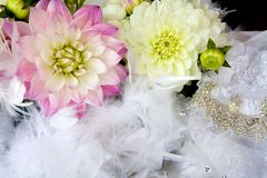 Wedding Textures. Wedding Florals, with dress and feathers Royalty Free Stock Image