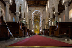 Wedding in the 13th century Cefalu Cathedral. Royalty Free Stock Images