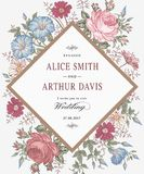Wedding thanks invitation. Beautiful realistic flowers Chamomile Rose card. Frame, label. Vector victorian Illustration. Petunia Stock Images