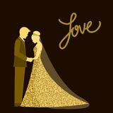 Wedding theme. Bride and groom. Golden sparkle glitter texture. Royalty Free Stock Image