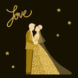 Wedding theme. Bride and groom. Golden sparkle glitter texture. Royalty Free Stock Images