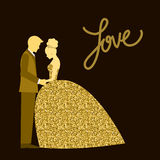 Wedding theme. Bride and groom. Golden sparkle glitter texture. Stock Images
