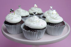 Wedding theme chocolate red velvet cupcakes Royalty Free Stock Image