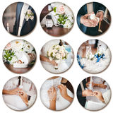 Wedding theme collage composed of different images on white back Royalty Free Stock Images