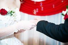 Wedding theme. Holding hands newlyweds royalty free stock photo
