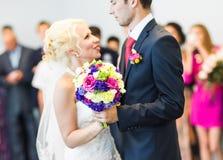 Wedding theme, holding hands newlyweds Royalty Free Stock Photography
