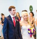Wedding theme, holding hands newlyweds Stock Image