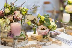Wedding themen, romantic dinner table setting royalty free stock photos