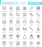 Wedding thin line web icons set. Outline icon design. Royalty Free Stock Images