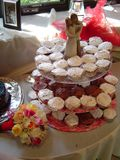 Wedding three-tier cupcakes centerpiece stock photos