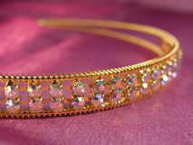 Wedding tiara. The wedding diadem lays on a pink fabric Stock Images