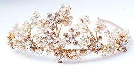 Wedding Tiara. Stunning Wedding Tiara in gold with crystals and pearls in vintage retro styling Stock Photography