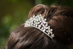 Wedding tiara, diadem. Decorated crystals. Glamour Stock Image