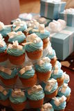 Wedding Tiffany style. Cute cupcakes and gifts decorated Tiffany style at a wedding stock photo