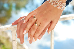 Wedding time. Hand of bride with engagement ring on finger before wedding Stock Photos