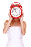 Wedding Time. Portrait bride with clock covering her face. Stock Images