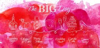 Wedding timeline menu pink Stock Images