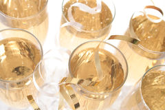 Wedding toast. Two wine glasses with ribbons and confetti Stock Photography