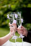Wedding toast. Womans and mans wedding hands with glasses Stock Image