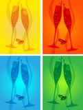 Wedding toast. Wedding champagne toast glass silhouettes Royalty Free Stock Photography
