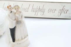 Wedding Topper Vintage. Vintage or Retro Wedding Topper of a bride and groom royalty free stock photos