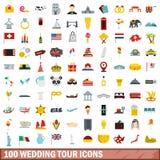 100 wedding tour icons set, flat style Royalty Free Stock Images