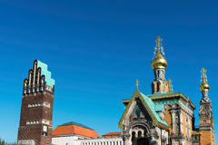 Wedding tower and church, Darmstadt Royalty Free Stock Image