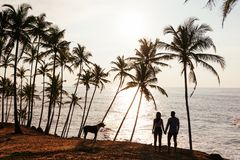 Wedding travel. Silhouette of lovers at sunset. Honeymoon trip. Man and woman on the beach. Lovers among palm trees. Young couple stock images