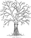 Wedding tree. Guest book fingerprint Royalty Free Stock Photography