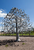 Wedding tree. Narva, Estonia. The wedding day attach leaflets with the names. Stock Photo
