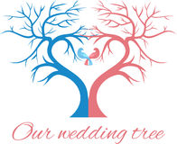 The wedding tree in the shape  a heart with two birds Stock Photography