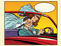 Wedding trip bride groom car. Pop art retro style Royalty Free Stock Photos
