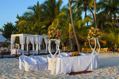 Wedding in tropic. Wedding Gazebo on the Beach Royalty Free Stock Photos