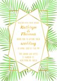 Wedding Tropical Invitation Card. Wedding invitation card with gold geometric artdeco frame and palm leaves with watercolor effect. Romantic exotic A4 mock up Stock Photo